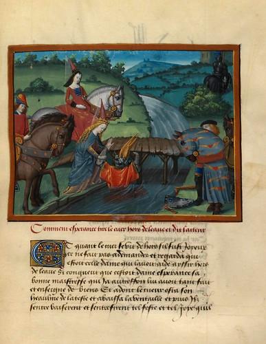 005-Dama Esperanza tira al caballero Corazon al agua-fol. 22-Le livre du Coeur d'amour épris, par le roi René d'Anjou-1460-BNF