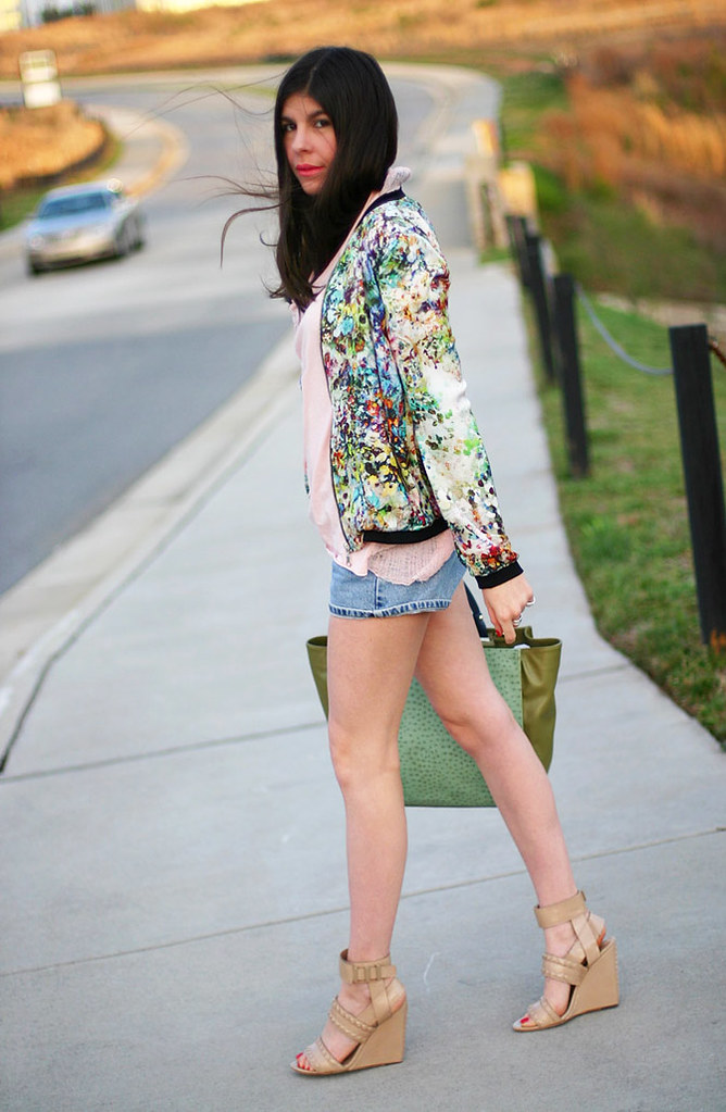Zara Floral jacket, Alexander Wang wedges, Calvin Klein, Fashion