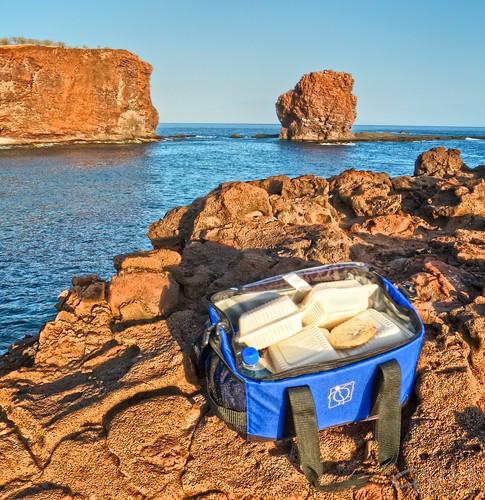 Sunset picnic at Puupehe (Sweetheart Rock)