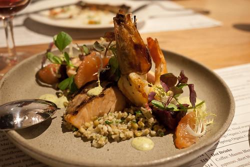 Salmon and prawn salad, Masons of Bendigo