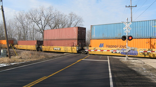 Southbound Canadian Pacific intermodal train crossing West Lake Avenue.  Glenview Illinois USA.  Wednsday, February 15th, 2012. by Eddie from Chicago