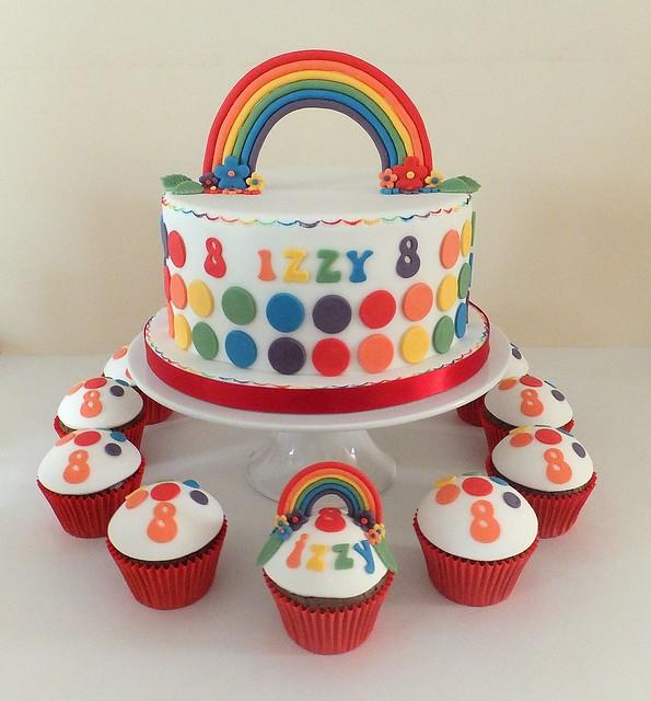 Rainbow Cake Decorations Uk : Rainbow cake & cupcakes Flickr - Photo Sharing!
