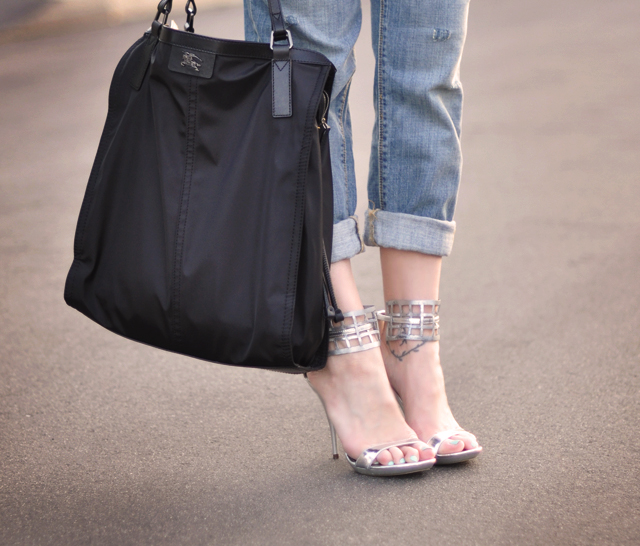 silver diy mesh sandals  - burberry bag