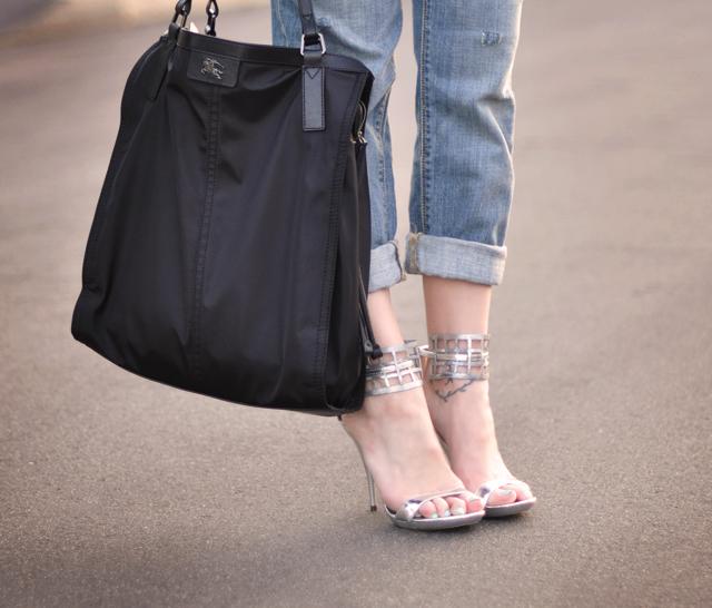 silver diy mesh sandals  - burberry bag