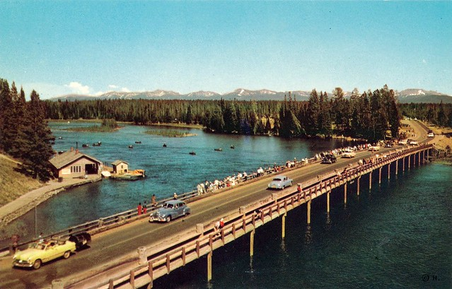 Postcard fishing bridge yellowstone lake yellowstone na for Yellowstone lake fishing