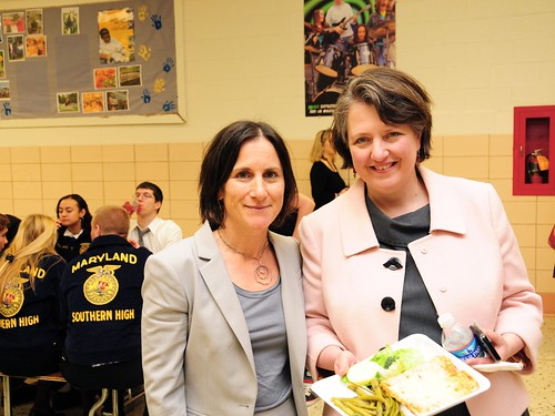 USDA Deputy Secretary Kathleen Merrigan and Deborah Kane, USDA's National Farm to School Director, enjoy lunch at Southern High School with FFA students.