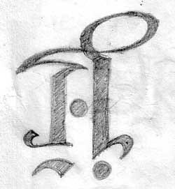 sketsa ambigram Aji