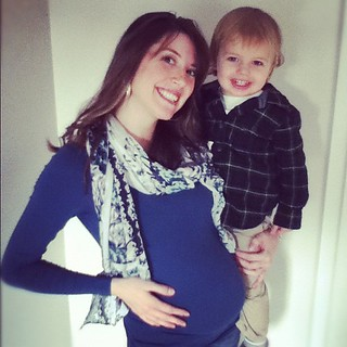 27 weeks. Love my boys!