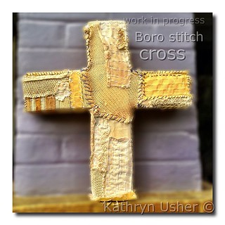 Boro stitch Cross work in progress #louisiana #shreveport ##boro #textileart #borostitching #kathrynusher