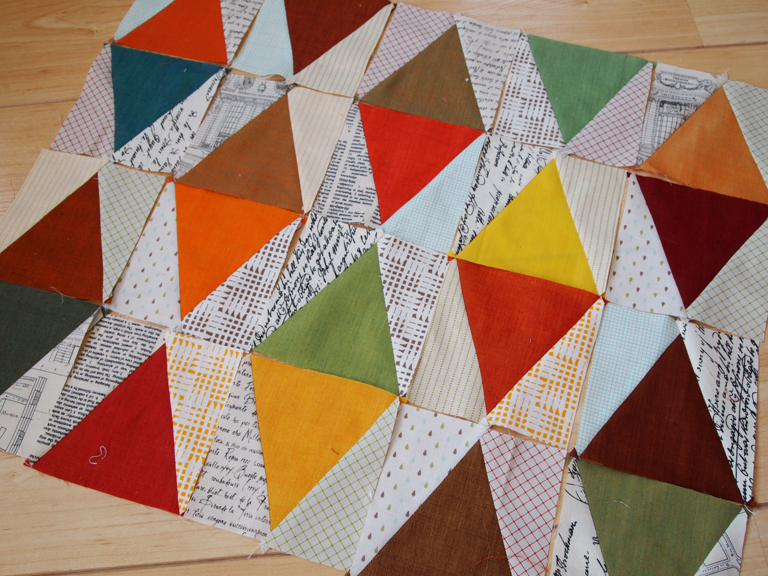 Oakshott diamonds quilt wip