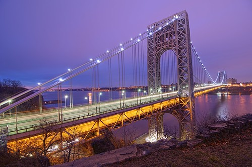 nyc newyorkcity longexposure bridge newyork sunrise geotagged dawn newjersey manhattan nj gothamist georgewashington hdr gwb fortlee georgewashingtonbridge washingtonheights lighttrail mudpig stevekelley stevenkelley