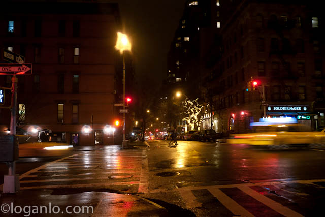 Rainy night on the UWS in NYC,NY