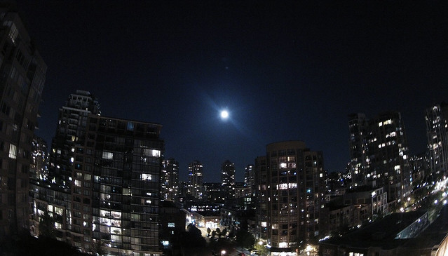 Supermoon over Vancouver