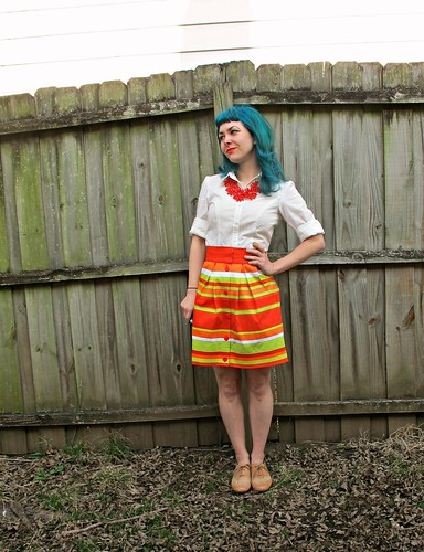 Butterick 5526 & Kelly skirt, made with Mood Fabrics