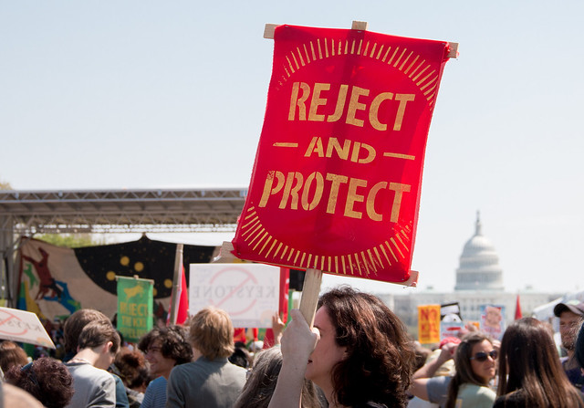 Reject and Protect sign at Keystone XL protest in DC