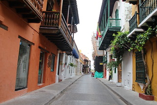 Looking Down Street in Old Town Cartagena