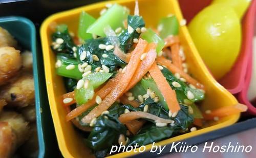 お弁当、2016-5-19、小松菜ナムル