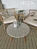 Marmeren salontafel en bamboe loungeset