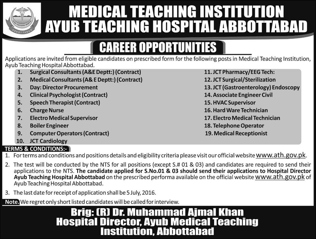 Ayub Teaching Hospital Abbottabad Career Opportunities