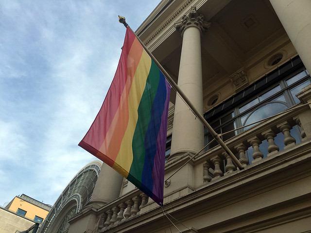 The Royal Opera House flies the LGBT rainbow flag in support of Pride 2016