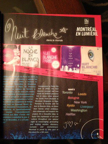 #Leeds Light night gets a little plug in the Nuit Blanche Montreal guide book. :-)