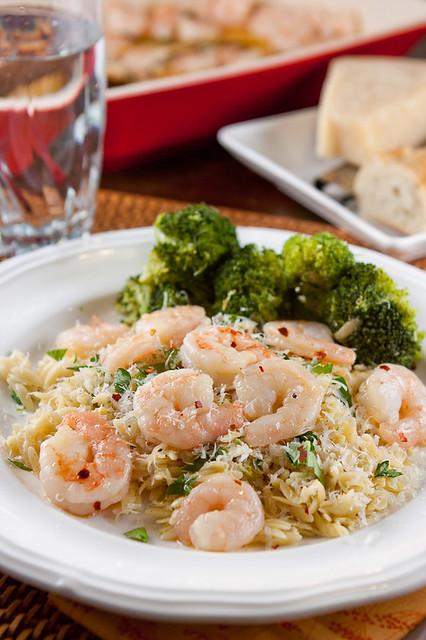 Spicy Garlic Roasted Shrimp on Lemon-Parmesan Orzo Recipe