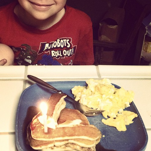 Birthday #7 pancakes and scrambled eggs for my boy. <3