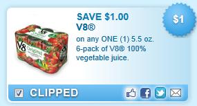 V8 100% Vegetable Juice, 5.5 Oz. 6-pack Coupon