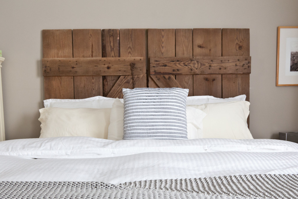 How to diy barn door headboard sweetfrenchtoast for How to make a headboard out of a door