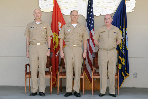 Admiral John Harvey (left), Vice Adm. Richard Hunt (center), and Rear Adm. Davis Thomas (right)