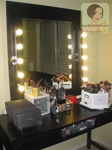 My Makeup Vanity Set Up With DIY Lighted Mirror The Shades Of U