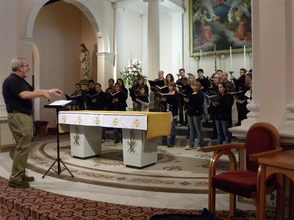 Fresno Pacific University Concert Choir rehearses in Sacred Heart Cathedral in Wellington