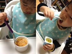 朝御飯、ひとりで食べるとらちゃん(2012/3/17)