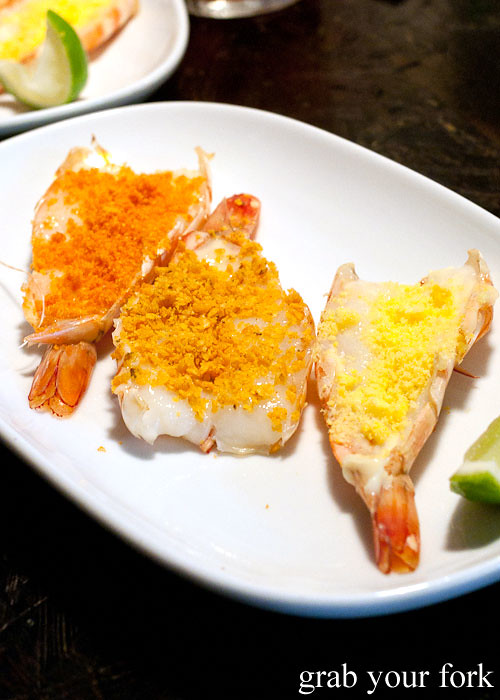 chip-crusted prawns at ms g's, potts point