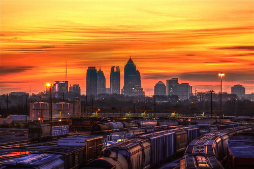 morning atlanta winter light sky orange sun reflection building lamp clouds yard skyscraper train sunrise canon ga georgia aj puddle day cloudy tracks midtown rise hdr freight tanker csx brustein tilford 50d