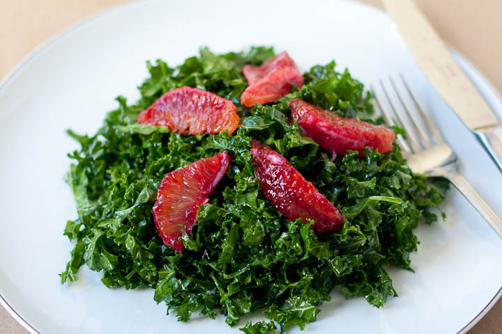 kale salad with blood oranges and anchovy vinaigrette