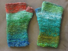 basic fingerless mittens in noro taiyo - finished