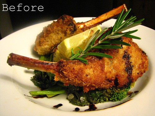 Fried Lamb Chops with Reduced Balsamic and Rosemary Sauce and Grilled Polenta w/ Broccoli di Rape