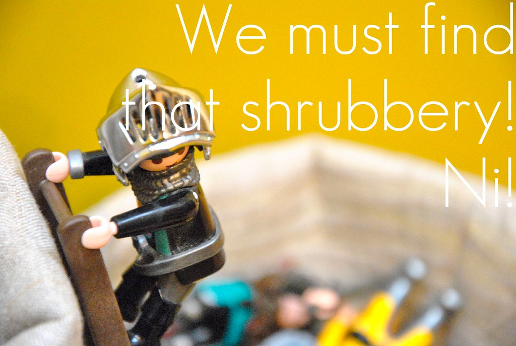 We must find  that shrubbery!