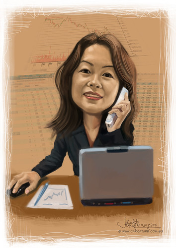 digital caricature of a stockbroker