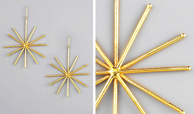 gold star flash earrings