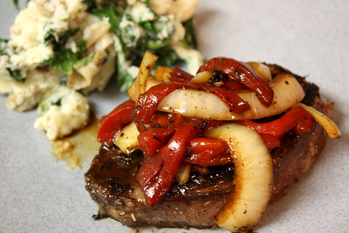 Balsamic Roasted Red Pepper & Onion Steak