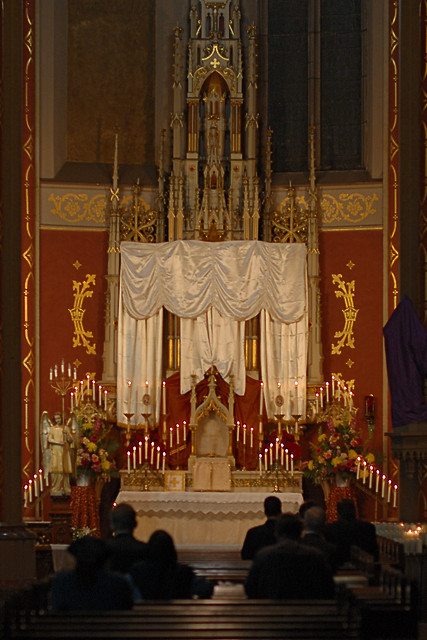 Saint Francis de Sales Oratory, in Saint Louis, Missouri, USA - adoration of the Eucharist on Holy Thursday