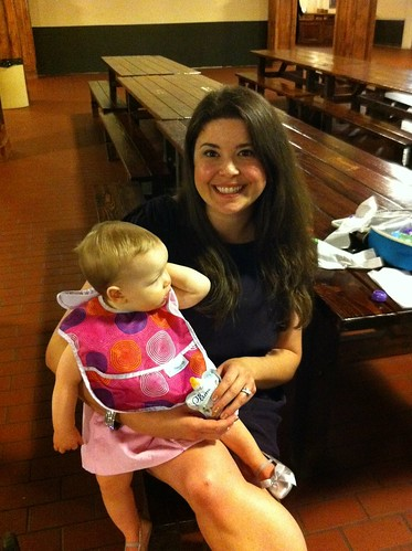 It is very glamorous feeding a baby at a rehearsal dinner