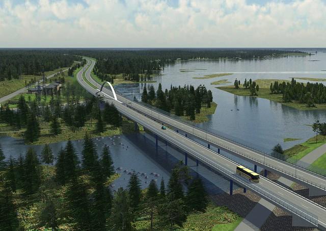 E18 Ahvenkosken sillat ylhäältä (lataa painokelpoiset kuvat klikkaamalla hiiren oikeaa näppäintä)