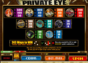 Private Eye Slots Payout