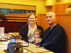 Alana, Dave, and Scout at Dinner