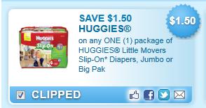 Huggies Little Movers Slip-on* Diapers, Jumbo Or Big Pak  Coupon