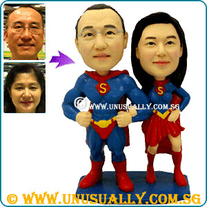 Personalized 3D Super Couple Lovely Figurines - @ www.unusually.com.sg