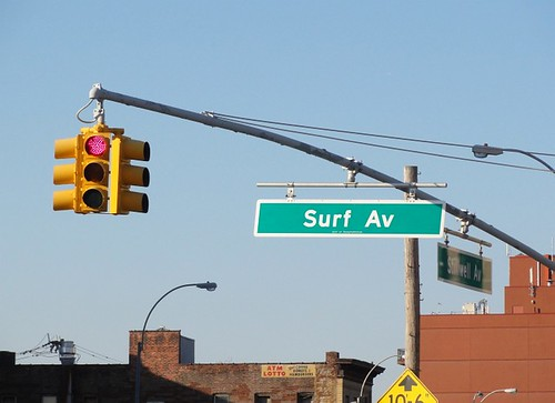Surf Av Sign and Traffic Light